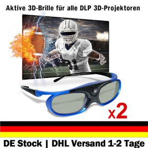 2x Aktive 3D Brille Shutter für All 3D DLP Beamer BenQ Optoma Acer Viewsonic DE
