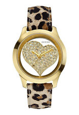 New GUESS Women Gold-tone Crystal Leopard Print Leather Heart Watch U0113L7 NWB