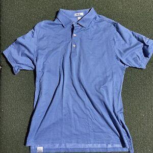 Peter Millar Polo Shirt Mens Large Blue Short Sleeve Cotton Button Casual Golf