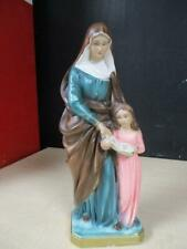 """Vintage 13"""" Saint Ann Virgin Mary Chalkware Statue Made in Italy"""