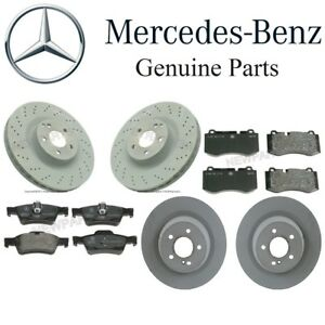 For Mercedes C216 CL W221 S Front & Rear Brake Pad Sets 2 Disc Rotors Kit OES