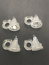 Set 4 Crystal Clear Christmas Tree Wreath Napkin Rings Celebrations Holiday