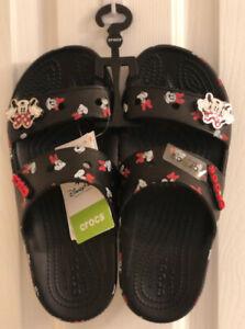 Disney Minnie Mouse Crocs Sandals Black 2021 Adult Size M 6 / W 8 Jibbitz