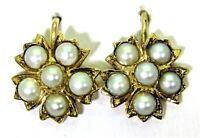 Victorian Pearl Cluster 15ct Yellow Gold Earrings