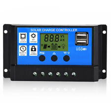 30A60A Solar Panel Battery Charge Controller 12V/24V LCD Regulator Auto Dual USB