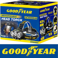 Goodyear Head Light Torch Lamp Headlamp Cree LED Rechargeable Flashlight 20000LM