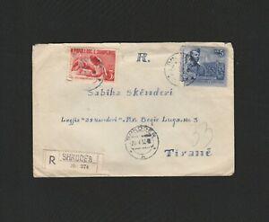 Albania Vintage Registered Circulated Cover Shkoder to Tirane 1952 - ZAF313