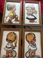 Vintage Lot Of 4 Framed 5 X 8 Prints