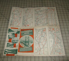 Vintage (1960s?) SHOWING ROUTES TO BEAR MOUNTAIN BRIDGE NY Fold-Out Road Map