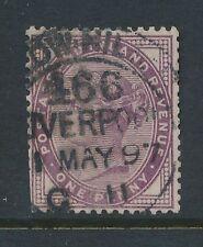 GB QV 1897 con cappuccio scorrimento e.low HILL Liverpool su 1D LILLA con data + codice