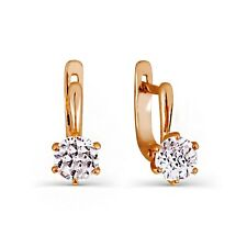 585 Russian 14ct Rose Gold Womens/Kids Cz Earrings Gift Boxed
