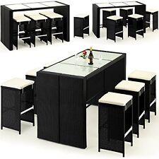 Modern Garden Wine Bar Set Glass Table & Stools 16 Pcs Summer Outdoor Furniture