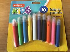 NEW -10 X FABRIC PAINTS. PERMANENT. DESIGN YOUR OWN T-SHIRTS. CHILDRENS KIDS