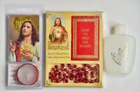 Sacred Heart of Jesus Rosary Beads, Sacred Heart of Jesus Candle, Lourdes Water