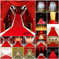 10X10FT Red Carpet Stage Stairs Vip Vinyl Backdrop Studio Background Photo Props