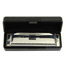 New Swan Harmonica 10 Holes Key of C for Blues Rock Jazz Folk + Case Silver