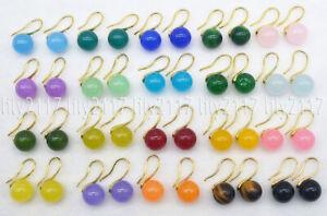 Natural 20 Colors 10mm Multicolor Jade Round Gemstone Gold Hook Dangle Earrings
