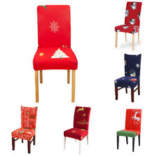 1x Christmas Dining Chair Protector Cover Stretch Slipcover For Xmas Home Decor