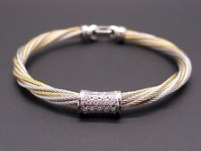 Charriol 18k Yellow Gold Steel Woven Cable Twist Round Diamond Bracelet