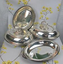 Good vintage set of EPNS silver plate SERVING DISHES. Lidded bowls, platters etc