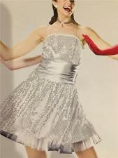 Dance Costume Ballet Jazz Tap Skate Dress  Pageant Silver Sparkle Plenty