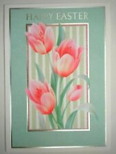 """PINK TULIPS """"HAPPY EASTER"""" GREETING CARD + WHITE ENVELOPE"""