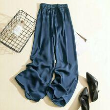 Леди атласная широкого покроя брюки повседневный брючный свободная высокая талия искусственный шелк модные длинные