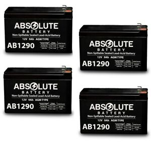 NEW 4PK AB1290 12V 9AH Battery Replacement for Alpha Technologies Ali Plus 3000T