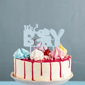 It's A Boy Elephant Glitter Cake Topper Baby Shower Any Colour