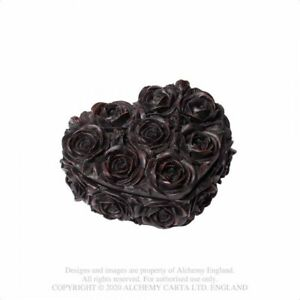 ALCHEMY ENGLAND Gothic Alternative Resin Casket TRINKET BOX Rose Heart (Black)