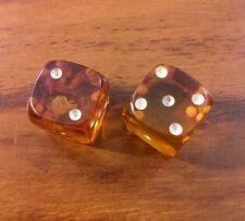 2 Beautiful and Rare Antique Vintage Amber Bakelite Orange Dice