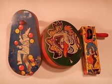 Vintage New Years Tin Noisemakers Lot of 3 Clown,Couple,/Dancing Man w/ Cone Hat