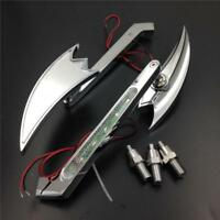 LED Turn signal Crooked Arrow Mirrors For Harley-Davidson Sportster XL Chrome