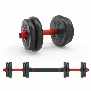 20kg Dumbbells 2 in1 Free Weights Barbell Body Building Gym Fitness Training Set