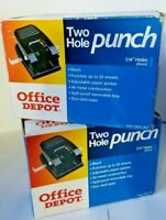Office Depot® Brand 2-Hole Paper Punch Black Lot of 2