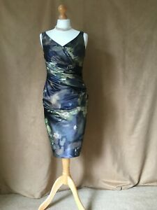 Kaliko.Ladies / Womens Lined Satin Look Floral Special Occasion Dress. Size 10
