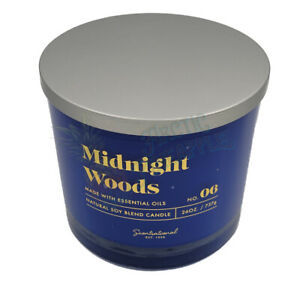 Scentsational Natural Soy Candle 26oz Triple Wick Wood Lid No. 06 Midnight Woods