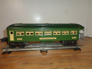 LIONEL O GAUGE # 2641 STATE GREEN, DARK GREEN AND CREAM OBSERVATION CAR