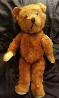 "1900's 23"" ANTIQUE BROWN /GOLD TOY MOHAIR  EARLY HUMPBACK TEDDY BEAR"