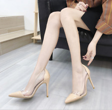 Womens Sexy Transparent High Heels Pointed Toe Clear Stilettos Pumps Party Shoes