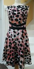Coast fit and flair pink ,black ,white and tan  abstract print dress 16