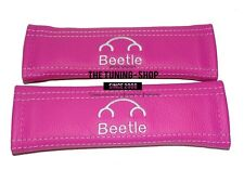 """2x Seat Belt Covers Pads Pink Leather """"Beetle"""" Embroidery for Volkswagen"""