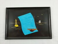 Vintage Couroc Monterey Sail Boat Ship Yacht Blueprints Brass & Wood Inlay Tray