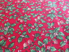 Cranston red cotton fabric Christmas HOLLYBERRY holly pinecones BTHY half yard