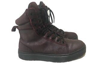 Dr Martens Boots Mix Lace-Up Boot Maroon Nubuck Leather  Women's Sz 7