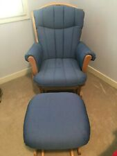 Excellent Condition- Dutailier Sleigh Glider and Ottoman Blue Fabric Maple Wood