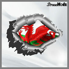 RIPPED TORN METAL Car Sticker Welsh Flag Vinyl Decal JDM Bumper 4x4