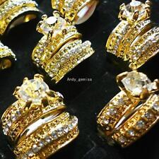 4pcs  Cubic Zircon Rhinestones Gold P 2 in 1 Rings New Wholesale Jewelry Lots