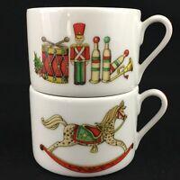 Set of 2 VTG Coffee Cups Vista Alegre Christmas Magic Hobby Horse & Drummer Boy