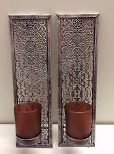 Frosted Glass and Metal Wall Mounted Sconce Tealight Candle Holder - Twin Pack